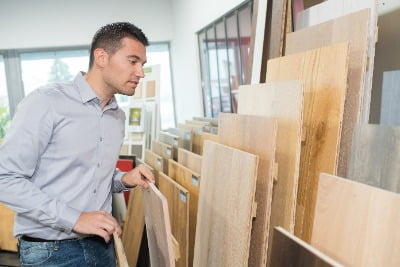 Man choosing plywood products