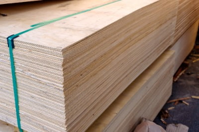 Stacks of plywood sheets